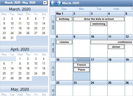 Custom Month Calendar in WPF