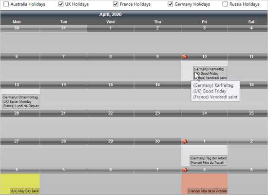 WPF Scheduling Component: Holiday Providers