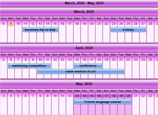 Wpf Calendar: Linear Month View