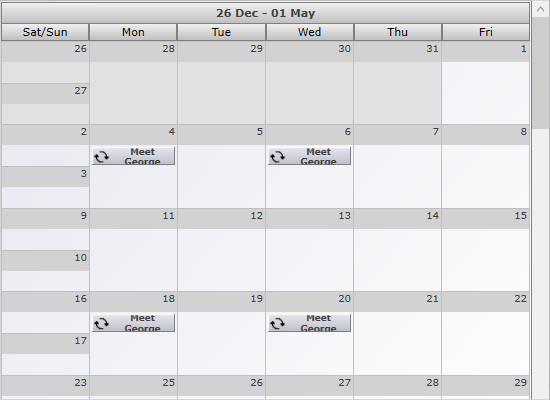 Single Month View in WPF Calendar