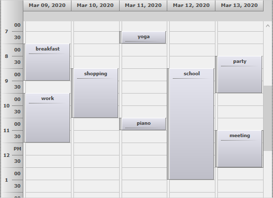 WPF Timetable View
