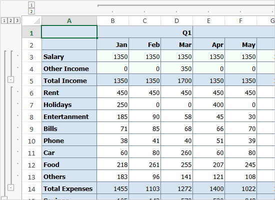 Features of MindFusion WPF Spreadsheet Control