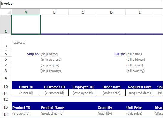 Invoice Template with MindFusion WPF Spreadsheet