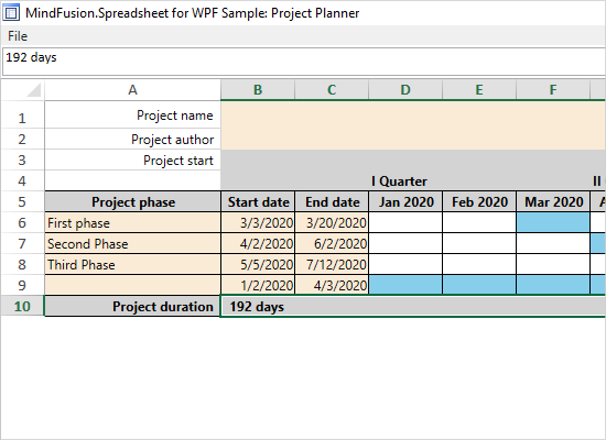 Project Planner with the WPF Spreadsheet Control