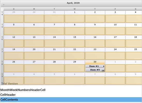 Custom Draw Elements in the Xamarin Calendar