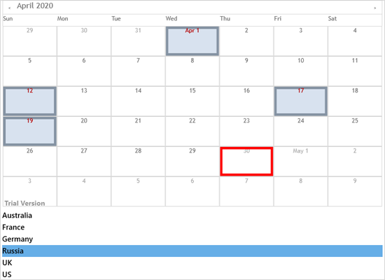 Holiday Providers in Xamarin Scheduler