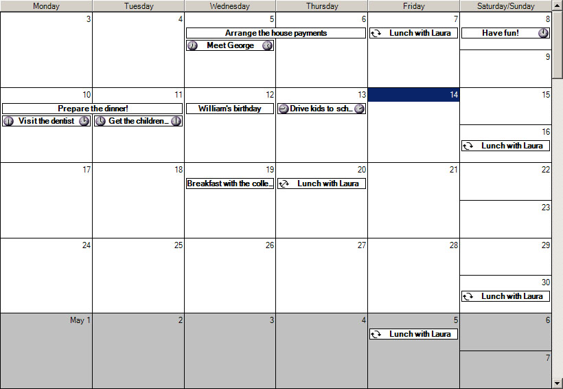 Planner.NET - Calendar and Timetable Component, C# Appointment Control ...