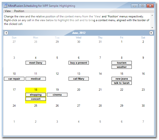 Mindfusion Scheduling For Wpf Calendar And Schedule
